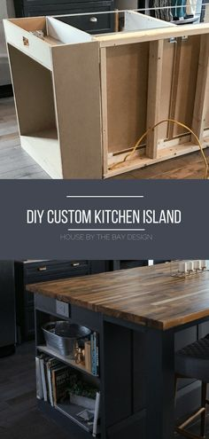 DIY Kitchen island before & after How we created our DIY Kitchen Island with prefab cabinets, a little trim, and unfinished butcher block countertops for an upscale custom look. Diy Kitchen Island, Kitchen Redo, Kitchen Storage, Kitchen Ideas, How To Build Kitchen Island, Ikea Island, Gray Island, Ikea Butcher Block Island, Kitchen Island Building Plans