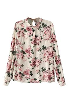 To find out about the Beige Long Sleeve Floral Slim Blouse at SHEIN, part of our latest Blouses ready to shop online today! Camisa Beige, Banded Collar Shirts, Tops Online Shopping, Rose Shirts, Girl Fashion, Fashion Outfits, Motif Floral, Mode Hijab, Beautiful Blouses