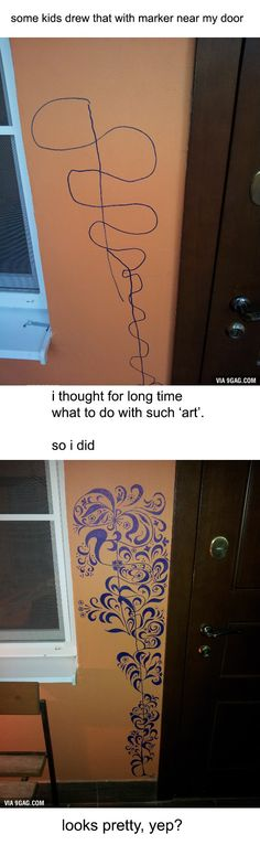 What to do when some kids draw on your wall