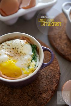 Quick & Easy Baked Egg Breakfast // Breakfast made healthy & simple. Customize however you like, adding your favorite ingredients and served hot out of the oven. Delicious way to start your day! A fantastic breakfast ready in 15 minutes! | Tried and Tasty