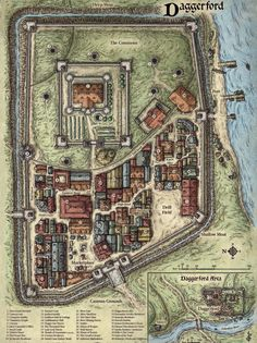 Map of the city of Daggerford in Toril, released by Wizards of the Coast