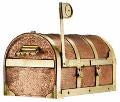 Copper Steamer Trunk Post Mount Mailboxes $287