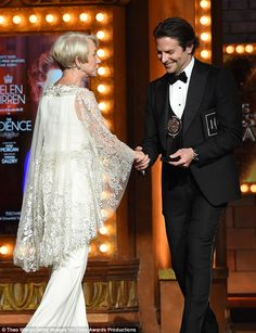 Doing his bit: The American Hustle actor presented Dame Helen Mirren with the best actress in a play Tony - the actress reprised her Oscar-winning role as Queen Elizabeth II in The Audience Matthew Beard, Best Costume Design, Dame Helen, Helen Mirren, White Gowns, Bradley Cooper, Best Actress, Floral, Awards