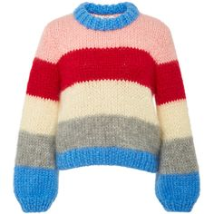 The Julliard Striped Mohair and Wool-Blend Sweater | Moda Operandi ($440) ❤ liked on Polyvore featuring tops, sweaters, stripe top, stripe sweaters, multi stripe sweater, wool blend sweater and red top