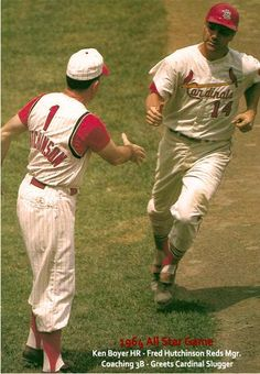 Cardinals Ken Boyer gets congrats from Base Coach,Reds Mgr Fred Hutchinson,after HR in 1964 AS Game at Shea Stadium St Louis Baseball, St Louis Cardinals Baseball, Royals Baseball, Stl Cardinals, Baseball Players, Baseball Art, Sports Baseball, Basketball, Mlb Uniforms