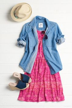 Truth: Denim goes with just about everything. Your favorite chambray top can double as a lightweight jacket over a printed dress. It's the perfect look for unpredictable spring weather. Featured SONOMA Goods for Life product includes: wedge espadrilles, s