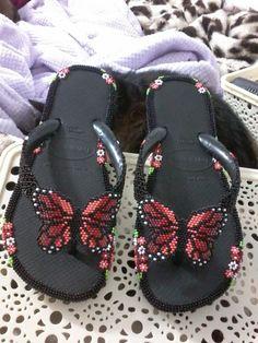 Beaded Shoes, Beaded Sandals, Beaded Earrings, Native Beadwork, Beading Projects, Bead Crafts, Flip Flops, Slippers, Footwear