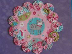 Tabby Cat Pastel Yo Yo Candle Mat/Doilypenny rug by SursyShop, $8.00