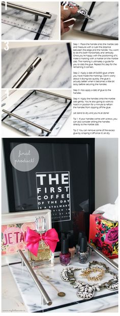 DIY :: Marble {slab} Vanity Tray - made with pastry marble slab and kitchen cabinet handles!
