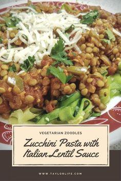 Zucchini Pasta with Italian Lentil Sauce - Vegetarian Zoodle Recipe