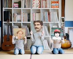Album covers—what a fun idea for a family holiday card!