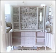 simply vintageous...by Suzan: AN ODE ...( and a hutch makeover ) transformed a regular hutch into a piece of furniture for a little girl
