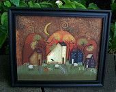 Primitive Fall Pumpkin-Crow Handpainted Canvas-Framed. $19.95, via Etsy.