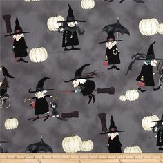 Haunted House Witchy Woman Smoke from @fabricdotcom  Designed by DeLeon Design Group for Alexander Henry Fabrics Collection, this cotton print fabric is perfect for quilting, apparel and home decor accents. Colors include grey, black, purple, ivory and blue.