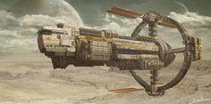 Space mining cargo ship, subin kim on ArtStation at https://www.artstation.com/artwork/99gYo