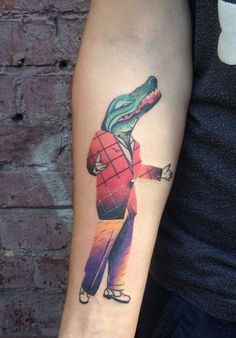 Crocodile in Suit Tattoo - InkStyleMag Inked Magazine, Crocodile, Tattoo Artists, Poland, Watercolor Tattoo, Body Art, Suits, Tattoos, Crocodiles