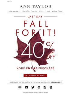 #newsletter Ann Taylor 10.2014 40% Off is FALLING Fast...