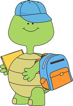 Boy Turtle Going to School