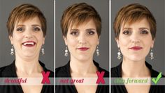 Megan DiPiero Photography {Posing Secrets of the Red Carpet} Remember: Chin forward and down.  And now for my favorite tip… chin forward and down.  Alternately, you can imagine bringing your forehead out and down.  Use the words that work best for you and practice this in the mirror.  To look slimmer AND younger.