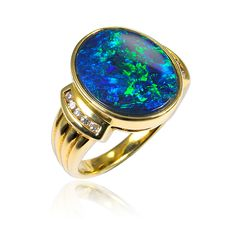 20166106 - Solid Black Opal Ring | Opals Down Under 12x15mm    $14,000