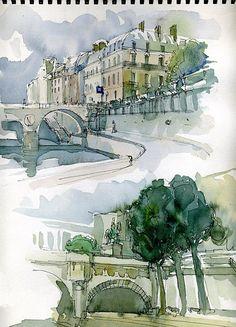 sketch of paris - aquarelle