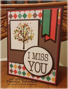 """MOJO424 """"I MISS YOU"""" using Hero Arts Color Layering Trees and StampsOfLife stamps along with Lawn Fawn Sweater Weather Paper Pad"""