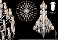 Large Glass Arm Crystal Chandelier with Decorative Glass Vases and Glass Arms K 5312 Decorative Lighting Design by Kny Design with Decorative Glass Vases with Golden Ornaments, Swarovski Elements and 24ct. Gold Plated - www.kny-design.com Decorative Lighting, Decorative Glass, Crystal Chandeliers, Contemporary Chandelier, Lighting Solutions, Light Decorations, Lighting Design, Vases, Swarovski Crystals