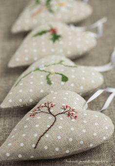 Сердечки / Hearts - Вечерние посиделки cross stitch heart ornaments