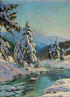 Художник Вещилов Константин Александрович (1877‑1945). Зимний пейзаж с елями.