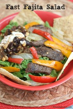 This delicious Fajita Salad is one of our favorites all summer long. Perfect for the grill or over the stove. @10 Minute Dinners