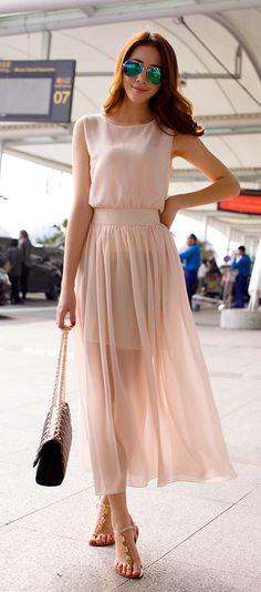 Summer Sweet Sleeveless Chiffon Llong Dress Women Ladies Elegant Dress