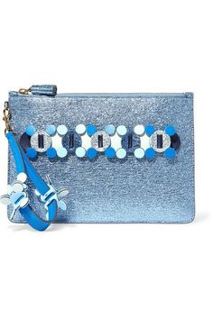 Metallic blue textured-leather (Cow, Sheep) Zip fastening along top Made in Italy