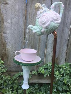 "Tea Pot and Tea Cup, Garden Decor, Yard Art, Mother's Day Gift, ""Angel"""