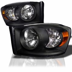 2006-2008 Dodge Ram 1500 250 3500 Pickup Crystal Headlights - Black