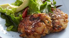 Basa Fishcakes with Tomato Avocado Salad