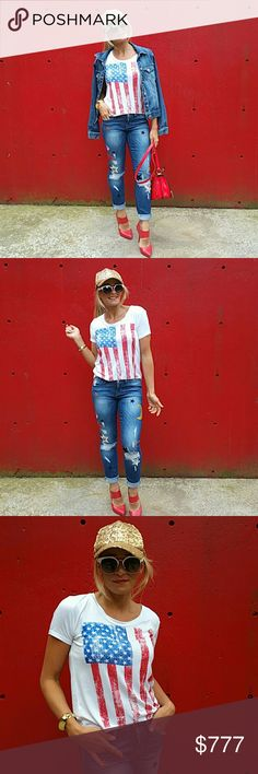 American Flag Tshirt Brand new Boutique item  Celebrate the 4th of July in the patriotic tshirt!! Printed American Flag in front. Grab your favorite shorts or jeans!   * 4th of July,  flag, Independence day, Red White & Blue, America, USA America park picnic party celebration fireworks     Tops