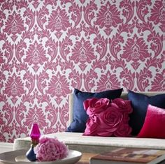 Love the pillow and the raspberry/navy color combo