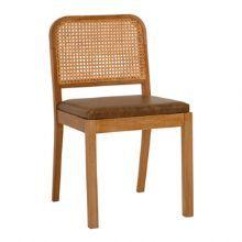 Cadeira de madeira maciça. Couro e palha natural :: Velha Bahia - Loja online móveis e objetos de decoração