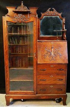antique secretary desk with hutch | ... Burl Walnut Cylinder Roll Top Secretary Desk All - Serbagunamarine.com