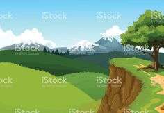 beauty mountain cliff with landscape background royalty-free stock vector art