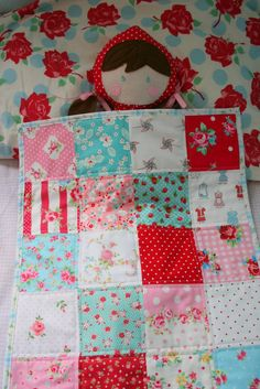 lovely little handmades: simple patchwork dolls quilt. Use this design for CM's doll quilt