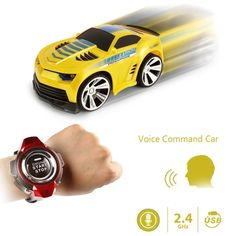 [$11.80] 2.4GHz Mini RC Car Voice Command Car Smart Watch Remote Control Sports Car Toy(Yellow)