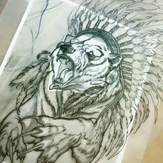 Sharp-nailed bear in indian leader feathered hat tattoo design . Bear Tattoos, Animal Tattoos, Body Art Tattoos, Sleeve Tattoos, Female Tattoos, Tattoo Sketches, Tattoo Drawings, Tattoo Ink, Rite De Passage