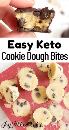 These keto cookie dough bites are super easy to make and store for months in the freezer. These healthy cookie dough bites are the perfect sweet bite to end your days. When it's hot out and you don't feel like baking these are a great choice! They are great chilled and frozen. Perfect to take to a party and an excellent fat bomb! This easy recipe is low carb, keto, gluten-free, grain-free, sugar-free, and Trim Healthy Mama friendly. Keto Desert Recipes, Trim Healthy Recipes, Easy Cookie Recipes, Healthy Dessert Recipes, Snack Recipes, Keto Recipes, Keto Foods, Cream Recipes, Keto Snacks
