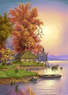 Landscape Village Paint By Numbers Kits .It is the perfect first step for beginners to enjoy the art of painting using our People paint by number collection.Paint your own wall art, even if you… Beautiful Nature Wallpaper, Beautiful Paintings, Beautiful Landscapes, Landscape Drawings, Landscape Art, Landscape Paintings, Pictures To Paint, Nature Pictures, Art Pictures