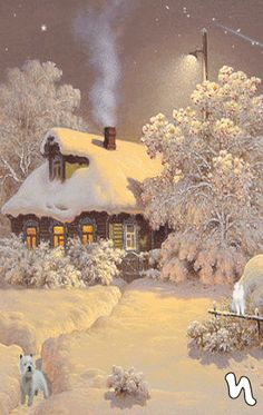 Blue smoke curls into a crisp winter night sky from a snow-covered cottage's chimney Winter Schnee, Beautiful Places, Beautiful Pictures, Winter Magic, Winter Snow, Cozy Winter, Winter Night, Snow Night, Winter Fire
