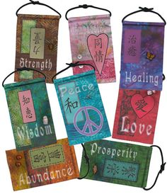 Prayer Flag SET of 8 - Cloth - Embellished - Double Sided - Ready to Hang - Free Shipping to Continental USA