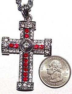 $55 this is a Large vintage religious necklace featuring a 2 1/2 inch long cross with beautiful and sparkling red and clear rhinestones. The cha...