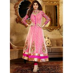 Look enticingly beautiful like Shilpa Shetty draped in this Pink Georgette Anarkali Suit.