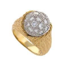 Tiffany & Co. Diamond and Gold Ring | From a unique collection of vintage cocktail rings at http://www.1stdibs.com/jewelry/rings/cocktail-rings/